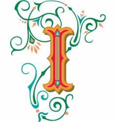 floral letter i vector image