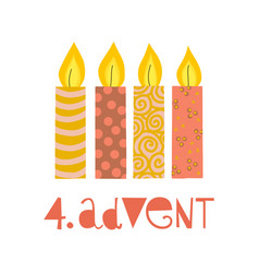 Four burning advent candles vector