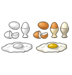 Fried egg and broken shell vintage color vector