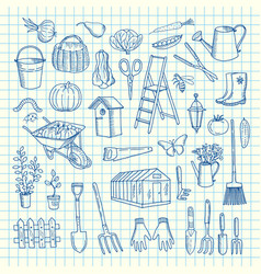 Gardening doodle icons on cell sheet vector