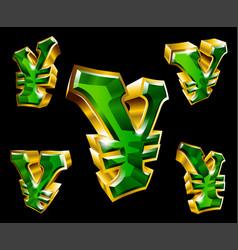 gold yen symbol vector image
