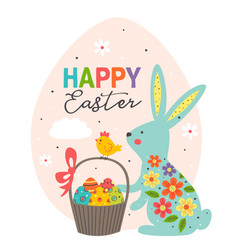 greeting card with blue easter bunny in egg vector image