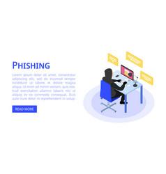 Hacker phishing banner isometric style vector