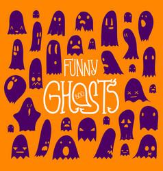 Halloween funny ghosts square orange vector