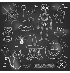 Halloween hand drawn doodles over black board vector image