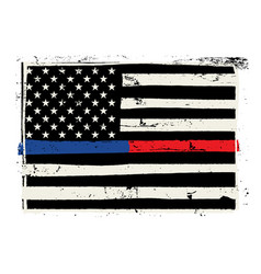 hand drawn police and firefighter support flag vector image
