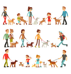 Happy people with pets women men and children vector