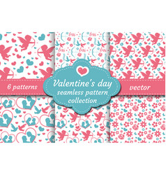 Happy valentine s day seamless pattern set vector