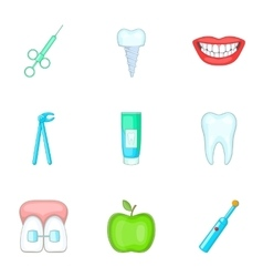 Healthy tooth icons set cartoon style vector