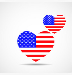 hearts with flag united states flag day vector image