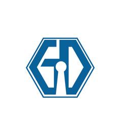 hexagonal initial letter gd g d logo design vector image
