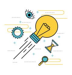 idea creative magnifier solution time symbol vector image