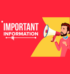 important information banner businessman vector image