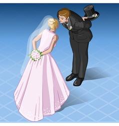 Isometric Kissing Wedding Couple vector image