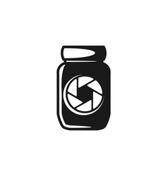 jar and camera logo icon design vector image