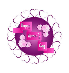 label with hearts and flowers happy women day vector image