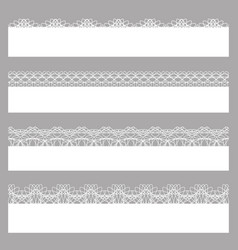 lace borders set of white seamless patterns vector image