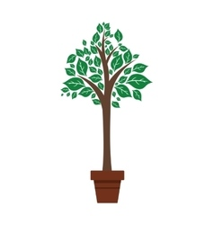 leaf pot plant green nature ecology icon vector image