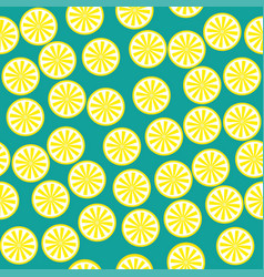 lemon fruit pattern yellow and green vector image