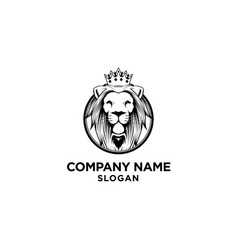 Lion king logo design with crown vector