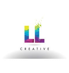 Ll l colorful letter origami triangles design vector
