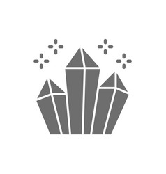 magic crystals diamonds grey icon isolated vector image