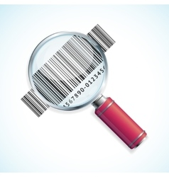 magnifier and barcode vector image