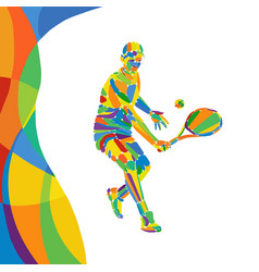 multicolor abstract professional tennis player vector image