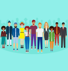 multiethnic group of people standing together vector image