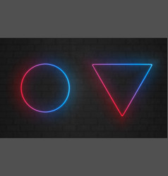 neon frames line light bulbs triangle and circle vector image