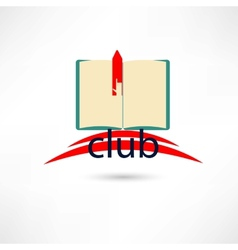 Open club boook with hand and bookmark vector