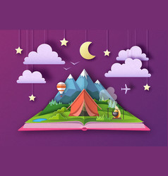 Open fairy tale book with mountains landscape vector