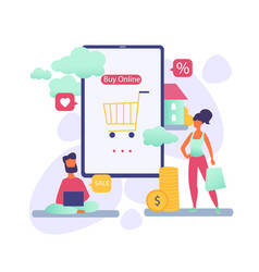 people shopping online vector image