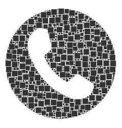Phone number collage of squares and circles vector