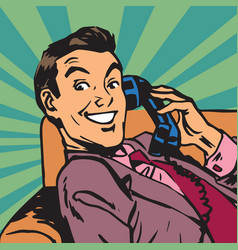 Printavatar portrait man with retro phone vector
