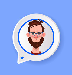 profile serious beard face chat support bubble vector image
