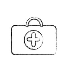 profile suitcase healthcare with hospital symbol vector image