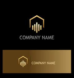 Realty house abstract business gold logo vector