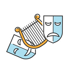 Sad and happy theater masks vector