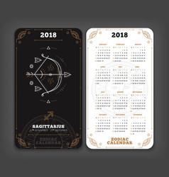 Sagittarius 2018 year zodiac calendar pocket size vector