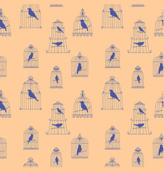 Seamless pattern with birds in cages vector