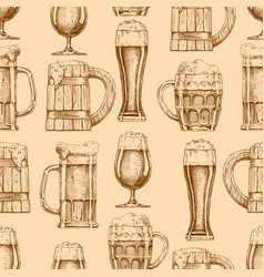 seamless pattern with different beer glasses and vector image