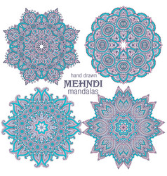 set four abstract round lace design vector image