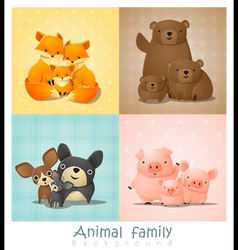 Set of cute animal family portrait vector