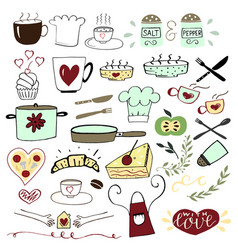 Set with hand drawn elements for cooking and food vector