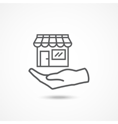 Shop on hand icon vector image