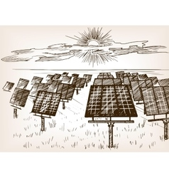 Solar power plant sketch vector image