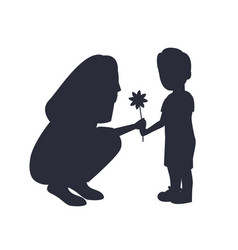 son presenting flower to adorable mother vector image
