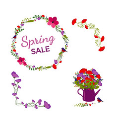 spring sale flower frame banner with birds vector image