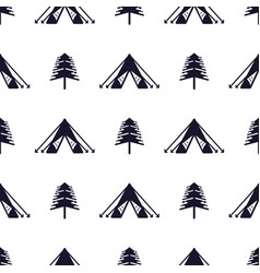 tent and tree seamless pattern silhouette vector image